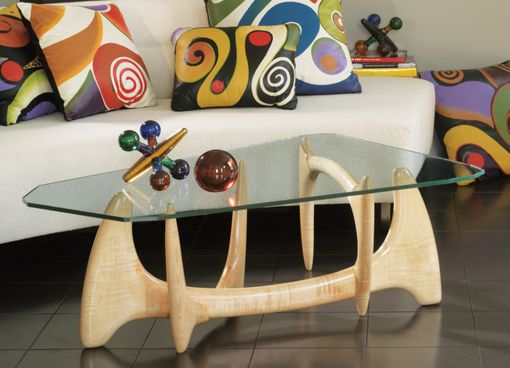 Custom Made Glass Top Coffee Table, Mid Century Modern, Hand Carved, Noguchi Style, Living Room