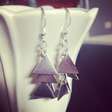Custom Made Silver Triangle Dangle Earrings