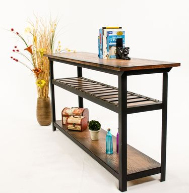 Custom Made Vintage Industrial Style Console Table/ Entertainment Center