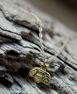 Custom Made 22k Gold Dainty Bumble Bee Necklace - $245