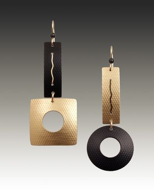 Custom Made Anodized Aluminum And Gold-Fill Earrings