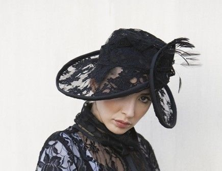 Custom Made Lace Beret Hat With Feathers