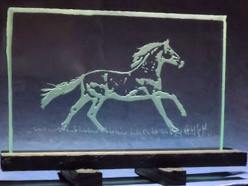 Custom Made Horse Portraits . Hand Etched & Painted On Different Sizes Of Glass