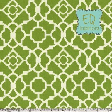 Custom Made Custom Curtain Panels In Waverly Jungle Green Lovely Lattice Trellis Fretwork 108l X 50w