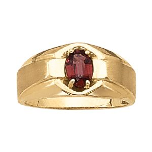 Custom Made Men's 14k Yellow Gold 7 X 5 Oval Shape Ruby Ring