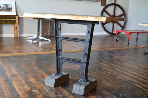 Custom Made Reclaimed American Chestnut Console Table With Factory Base