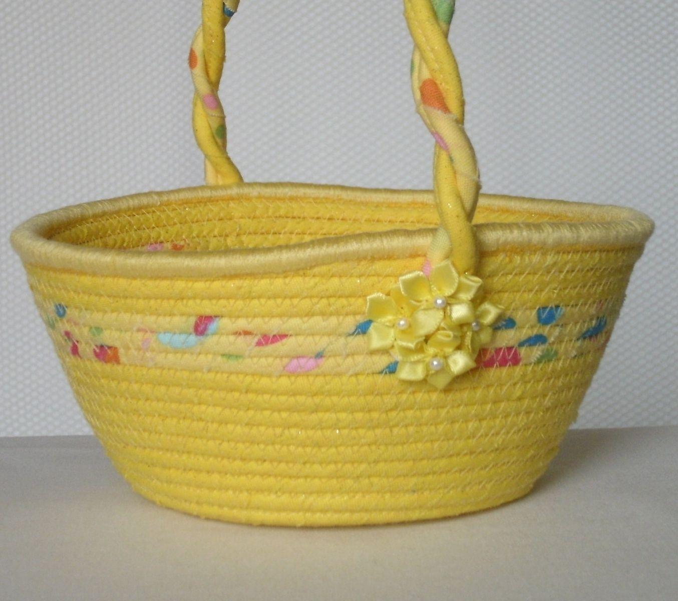 Custom Made Cloth Basket W/Handle - Coiled - Wrapped Clothesline ...
