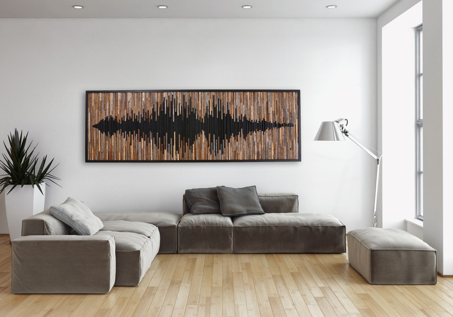 Custom Made Wood Wall Art Abstract Sound Wave Different Sizes
