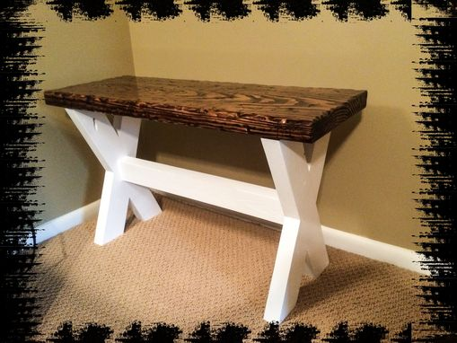 Custom Made Cross Legged Bench With White Base