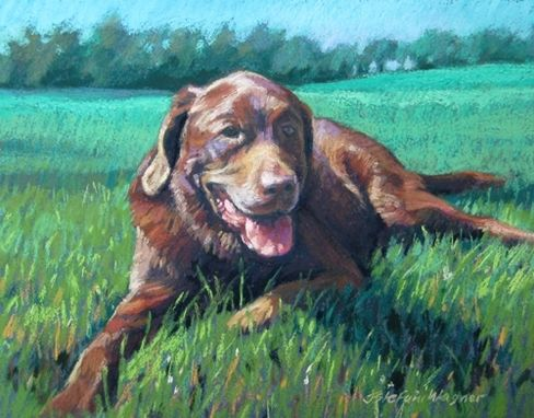 Custom Made Pet Portrait-Pastel Painting Of A Resting Dog In A Green Field, 8 X 10 Inches