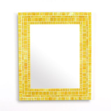 Custom Made Decorative Yellow Mosaic Bathroom Wall Mirror In Stained Glass Tiles
