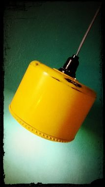 Custom Made Reclaimed Yellow Ceiling Fan Housing Upcycled Hanging Pendant Lamp