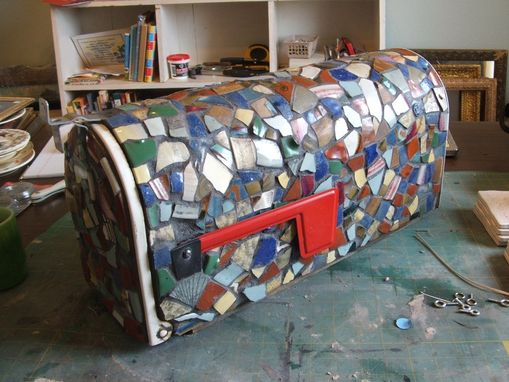 Custom Made Broken China Mosaic Mailbox - Handmade Pottery Tiles