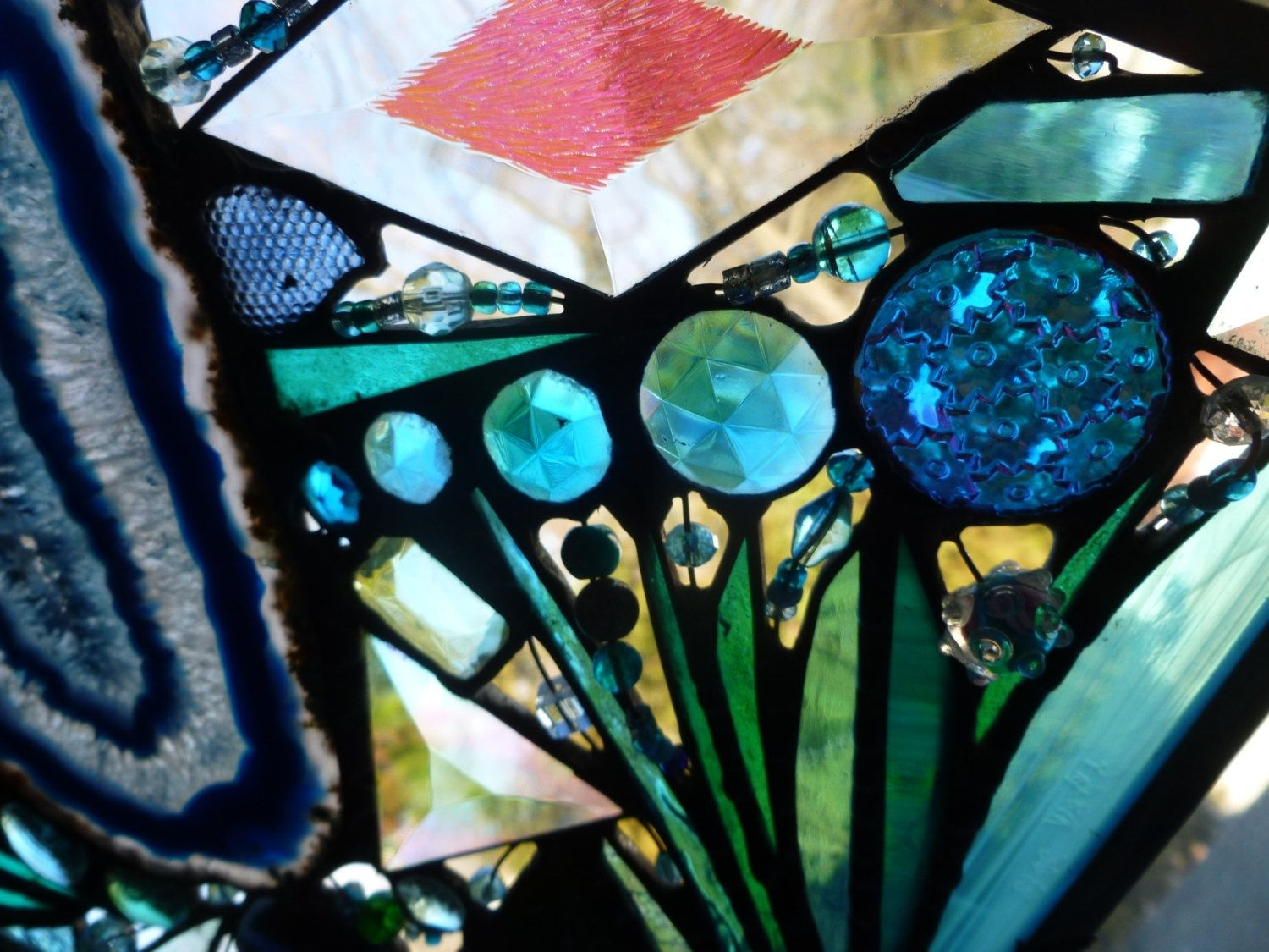 Hand Made Turquoise Themed Stained Glass Mixed Media Panel