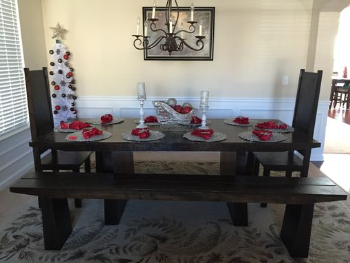 Custom Made Dining Room With Chairs And Benches.