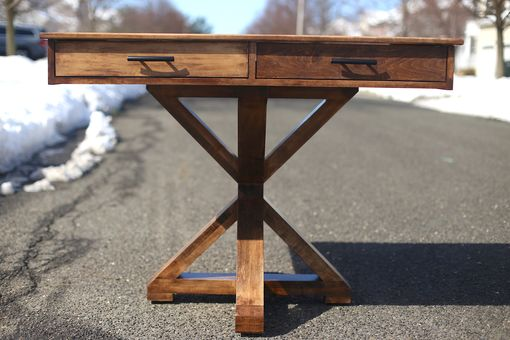 Custom Made Maple Trestle Table With Vintage Accents