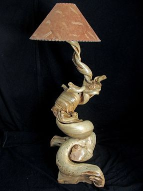 Custom Made Floor Lamp Made From Twisted Juniper Wood