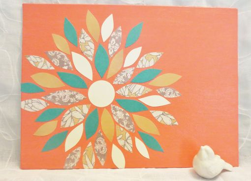 Custom Made Peach And Turquoise Flower Wall Art