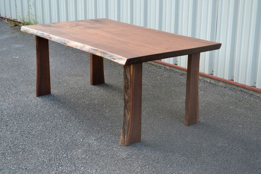 Custom Made Live Edge Walnut Table With Four Live Edge Legs