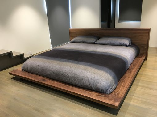 Custom Made Walnut Platform Bed And Headboard