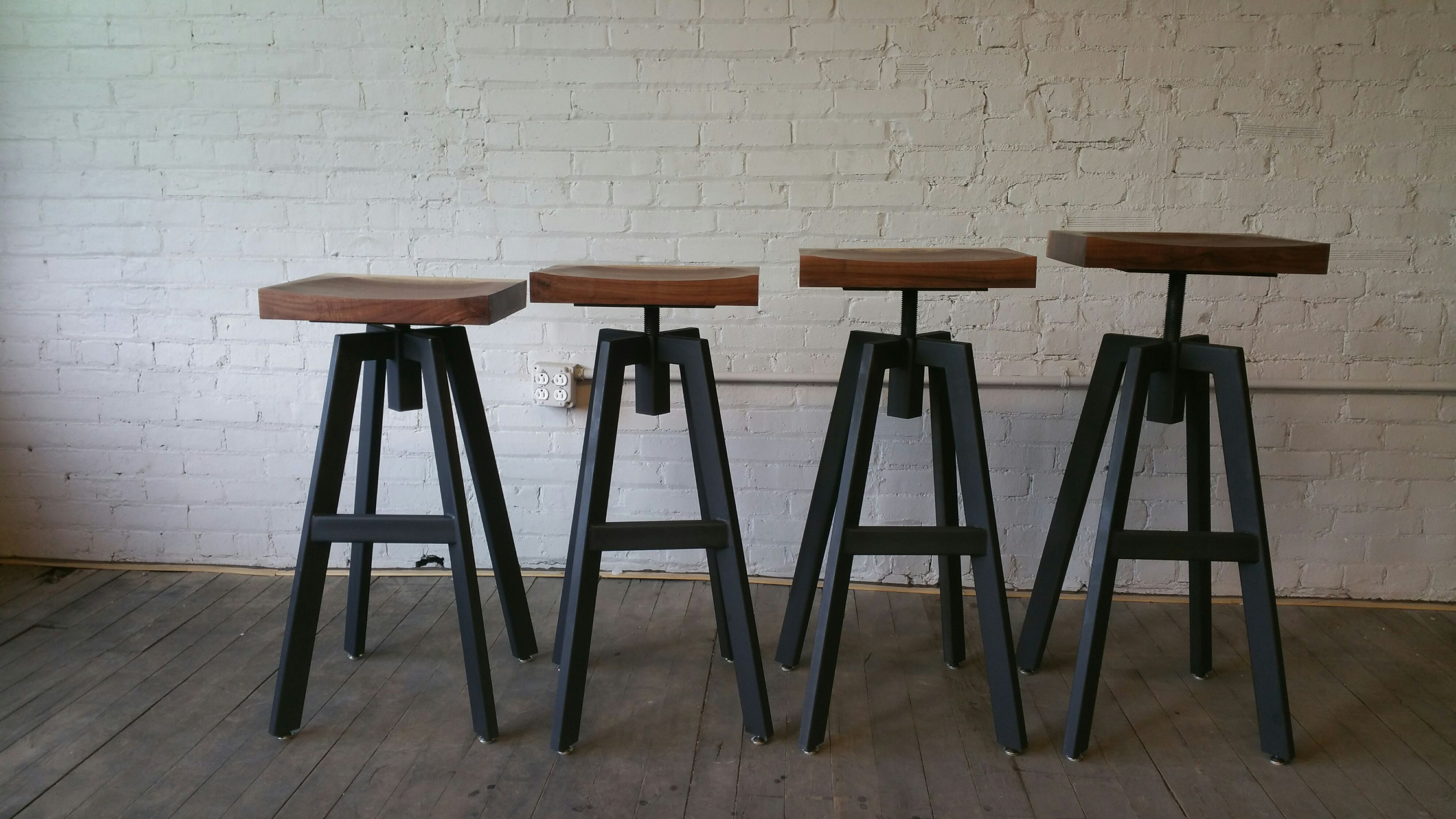 Custom made industrial inspired bar stool