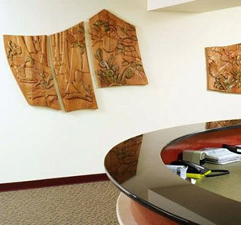 Custom Made 50ft Relief Carved Wood Mural, 'Without Ado'