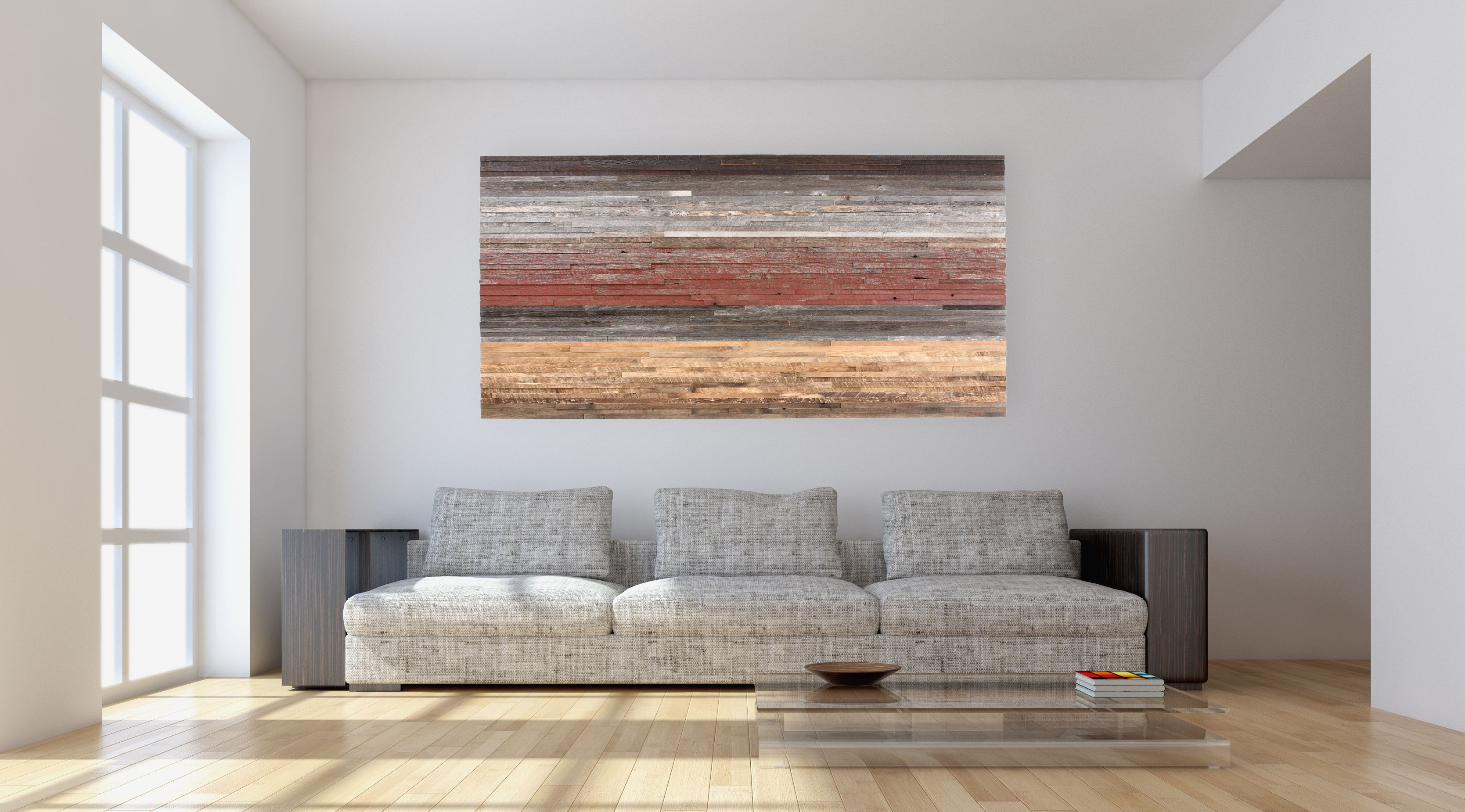 Custom Made Reclaimed Wood Wall Art Gradient Artwork Sunset