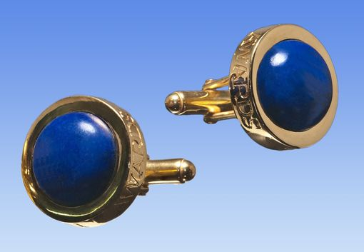 Custom Made Custom Cufflinks Carved Lapis With Message-- Innovative