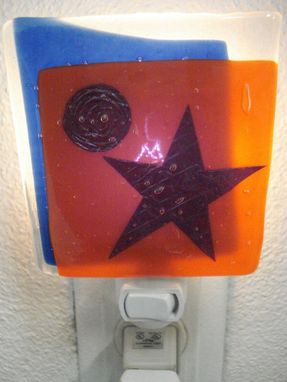 Custom Made Fused Glass Star And Moon Nightlight