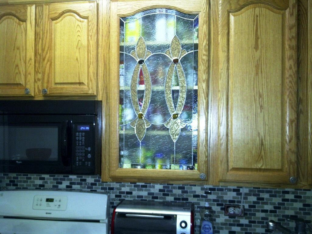 Hand Crafted Elegant Stained Glass Custom Kitchen Cabinet Inserts ...