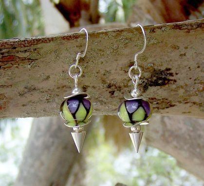 Custom Made Violet Aura Lampwork Glass Earrings