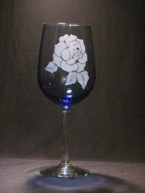 Custom Made Blue Rose Wine Glass