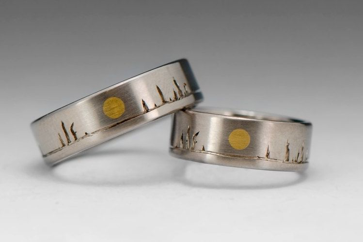 custom made wedding ring set 14k gold bands boreal tree sun alaska - Handmade Wedding Rings