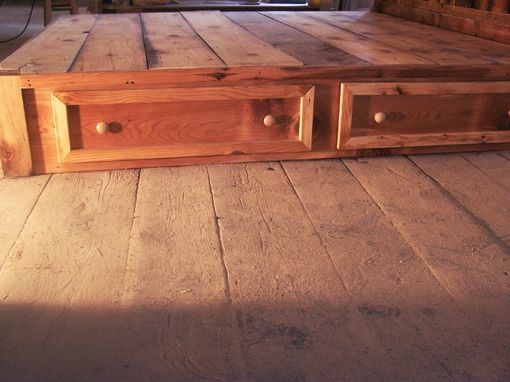 Buy Hand Crafted Reclaimed Rustic Pine Platform Bed With Headboard And 4 Drawers Made To Order