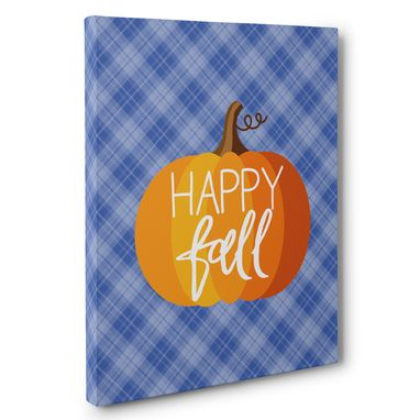 Custom Made Plaid And Pumpkins Happy Full Canvas Wall Art