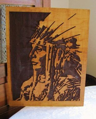 Custom Made Handmade Carved Wood Native American Indian Art - Wall Hanging / Sign - Chief White Cloud