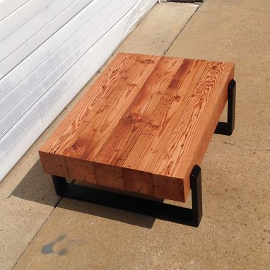 Custom Made Reclaimed Floating Beam Coffee Table