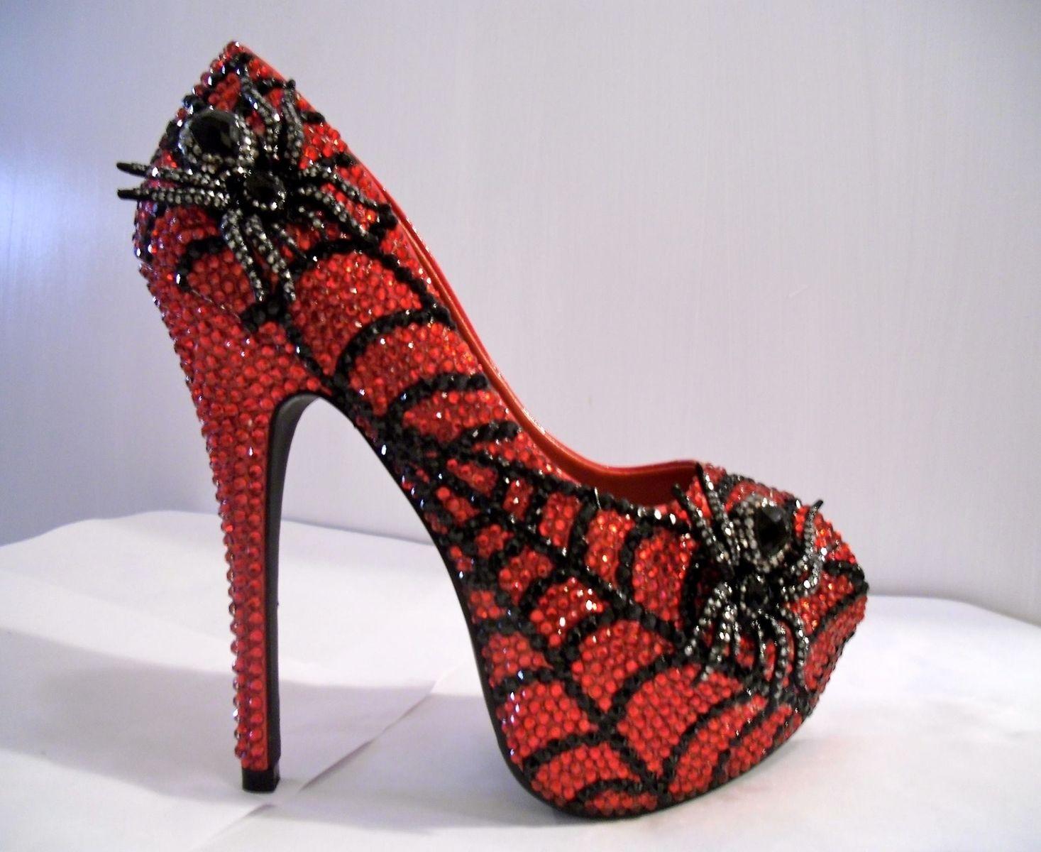 Buy A Custom Made Rhinestone Open Toe Spider Heels
