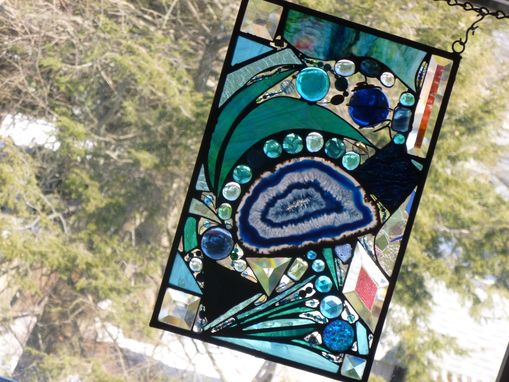 Custom Made Stained Glass Mixed Media Abstract Window Panel