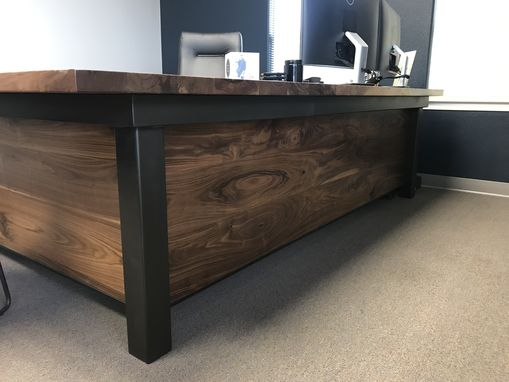 Custom Made Executive Desk In Walnut And Steel