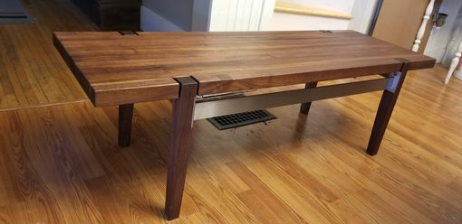 Custom Made Wood Bench With Metal Frame