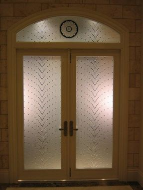 Custom Made Etched Safety Glass Door Design With Numerous Clear Jewel Overlay's