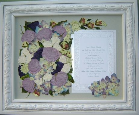 Custom Made Floral Preservation ~ Bridal Flowers With Wedding Invitation