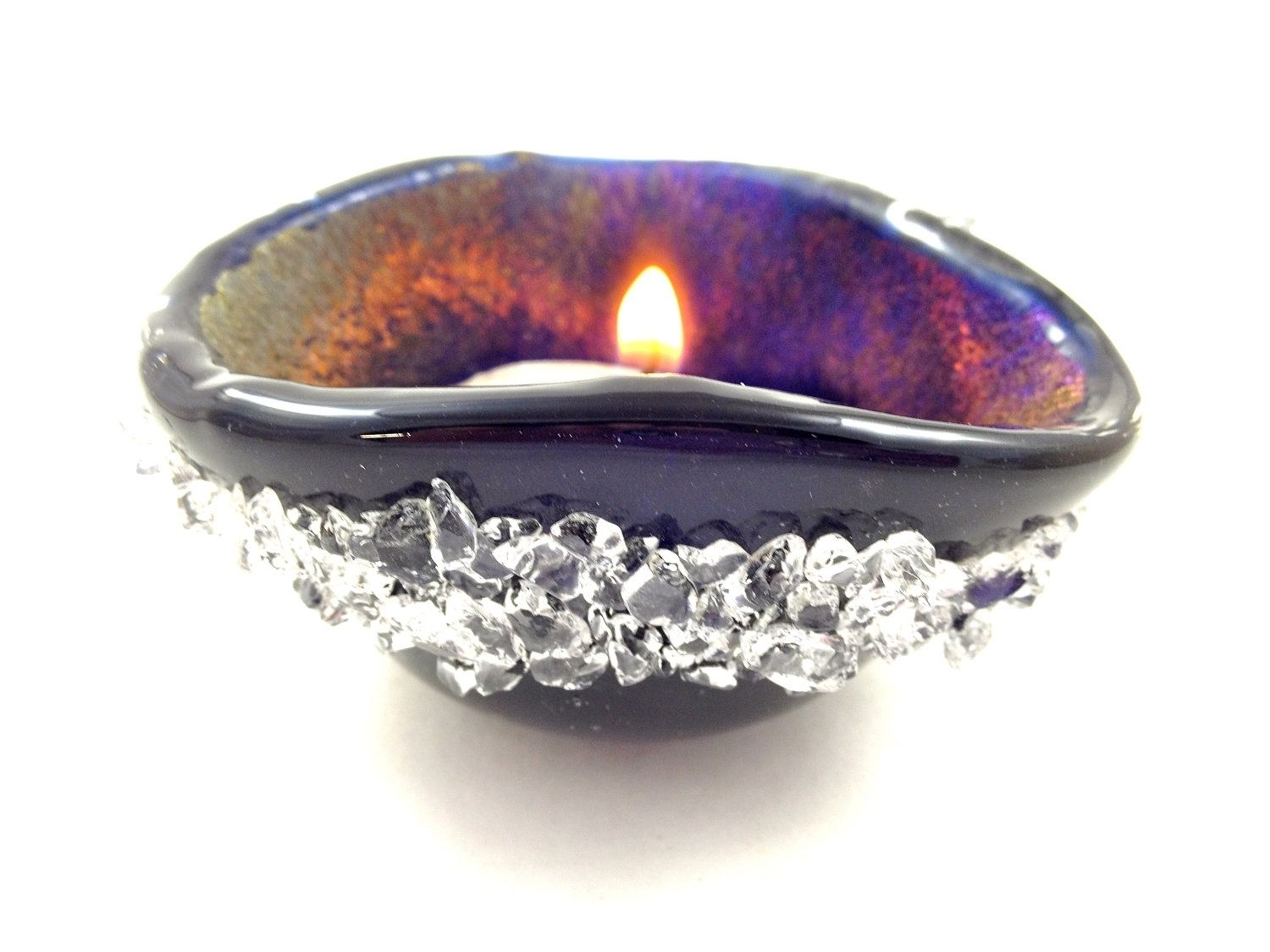 Hand Made Dark Navy Blue Fused Glass Candle Holder by Mt Baldy ...