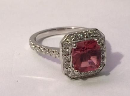 Custom Made 14kt White Gold Pink Sapphire And White Diamond Ring