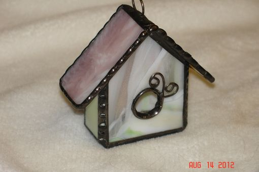 Custom Made Stained Glass Mini Birdhouse In Pink And Spring Greens