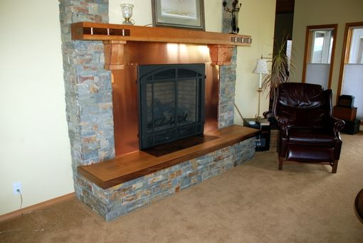 Custom Made Vg Fir And Black Walnut Fireplace Mantel And  Hearth