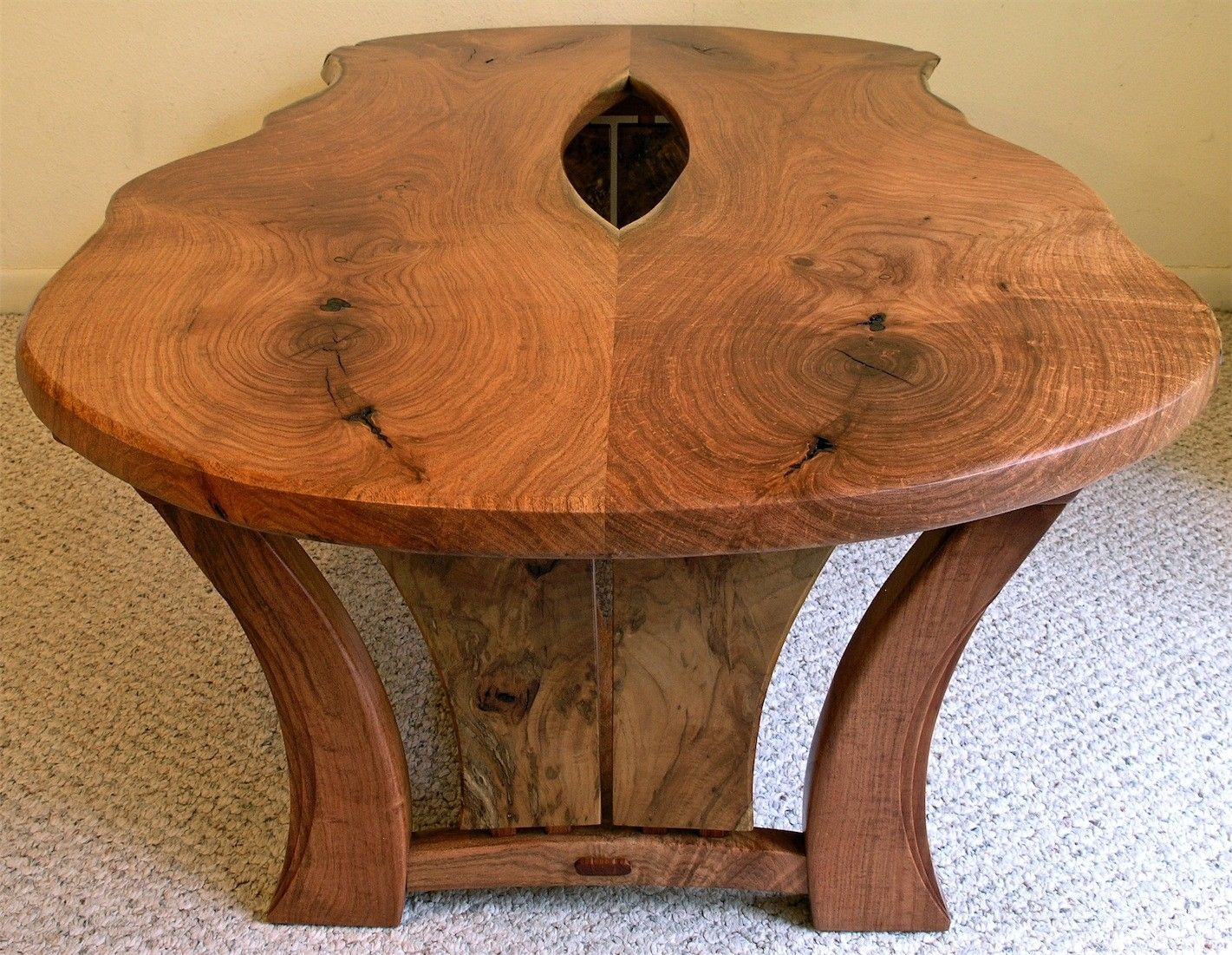 Hand Crafted Live Edge Mesquite Coffee Table By Louis Fry