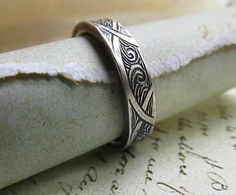 Custom Made Engraved Wedding Band, Intricate Celtic Style