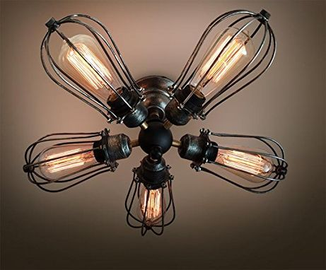 Custom Made Vintage Industrial Big Cage Ceiling Lamp Steampunk Kitchen Mount Ceiling Light